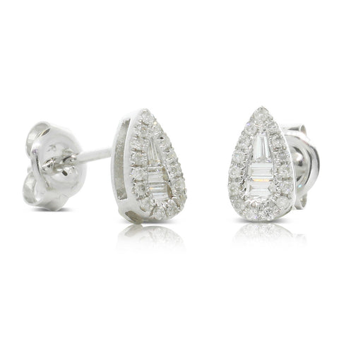 9ct White Gold Diamond Drop Stud Earrings - Walker & Hall