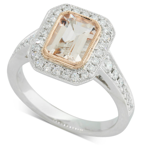 18ct White Gold Morganite & Diamond Cocktail Ring - Walker & Hall