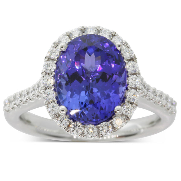 18ct White Gold 5.13ct Tanzanite & Diamond Ring - Walker & Hall