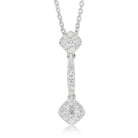 18ct White Gold Diamond Drop Pendant - Walker & Hall