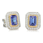 18ct White Gold & 18ct Yellow Gold Tanzanite & Diamond Earrings - Walker & Hall