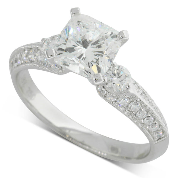 18ct White Gold 1.51ct Cushion Cut Diamond Ring - Walker & Hall
