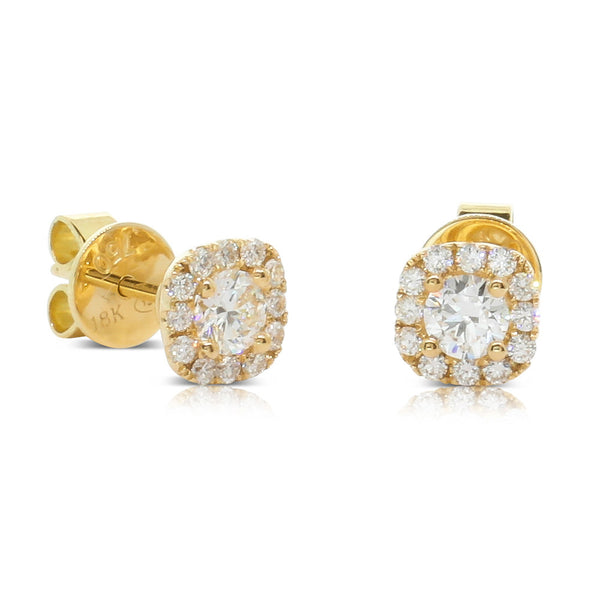 18ct Yellow Gold .72ct Diamond Peony Earrings - Walker & Hall