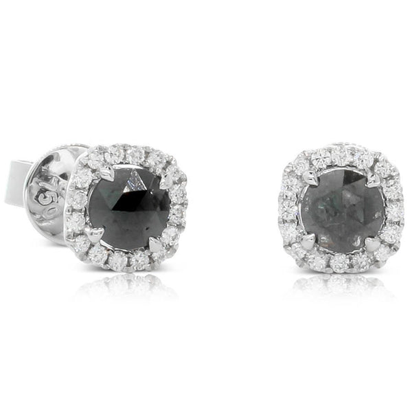 18ct White Gold .84ct Black Diamond Studs - Walker & Hall