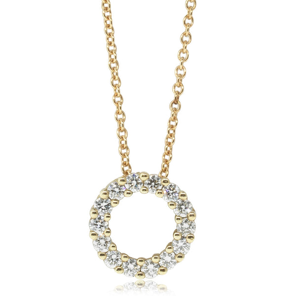 18ct Yellow Gold Diamond Circle Pendant - Walker & Hall