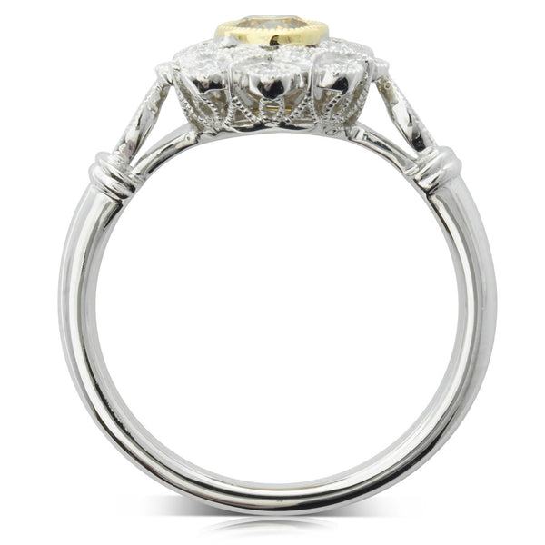 18ct White Gold Yellow Diamond Ring - Walker & Hall