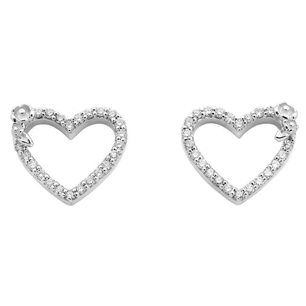 Karen Walker Diamond Heart Stud Earrings - White Gold - Walker & Hall