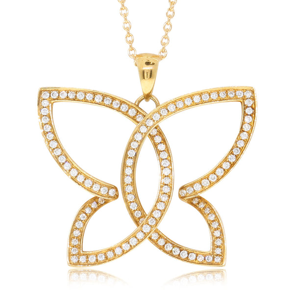18ct Yellow Gold .39ct Diamond Butterfly Pendant