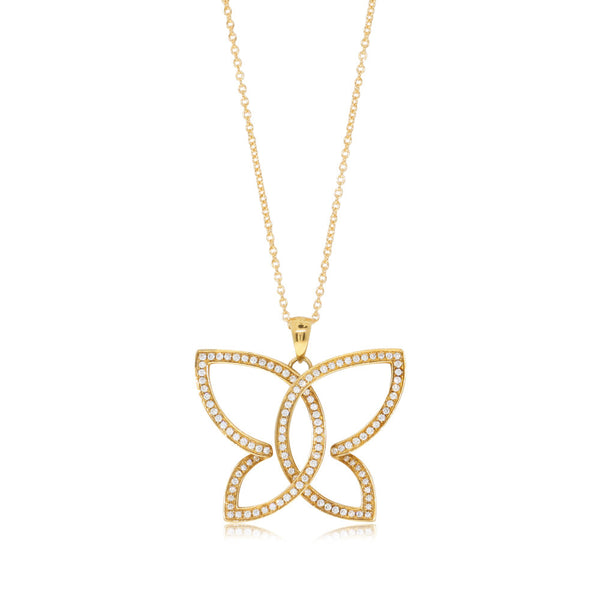 18ct Yellow Gold .39ct Diamond Butterfly Pendant - Walker & Hall