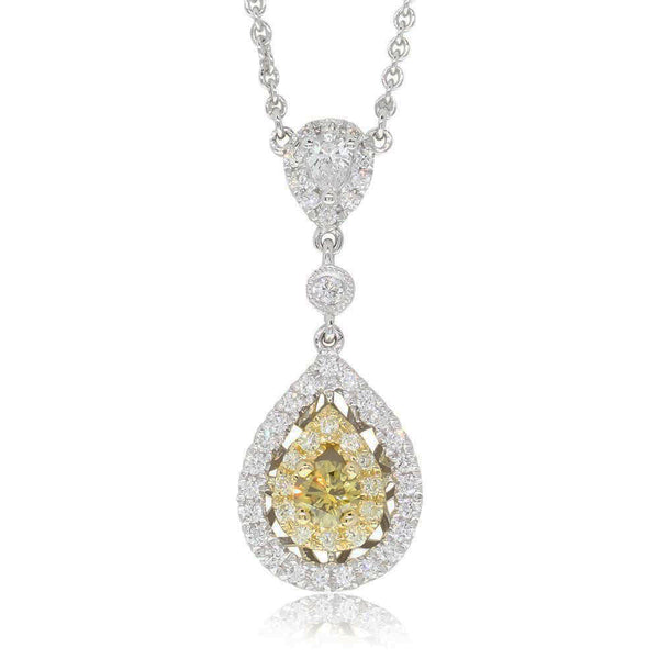 18ct White Gold Yellow Diamond Pendant - Walker & Hall