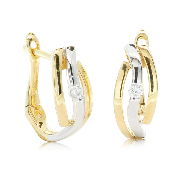 18ct Yellow & White Gold Diamond Earrings - Walker & Hall