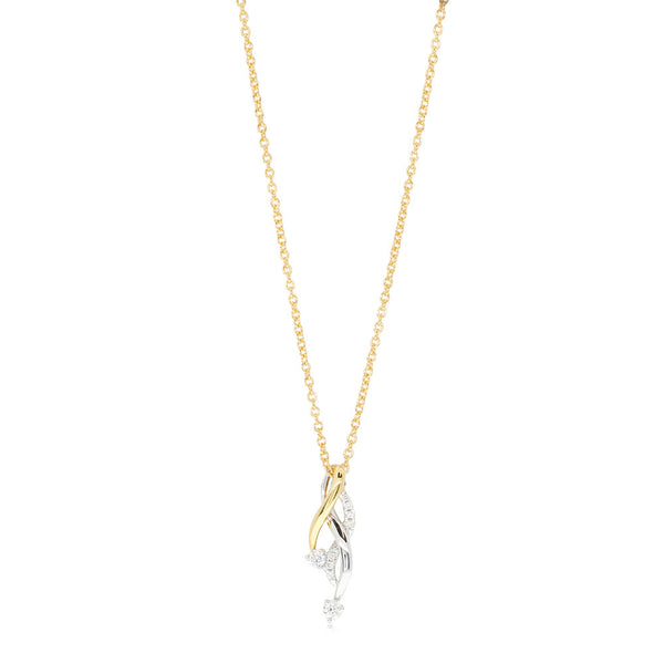 18ct Yellow & White Gold Diamond Pendant - Walker & Hall