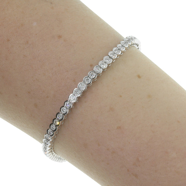 18ct White Gold 2.96ct Diamond Tennis Bracelet - Walker & Hall