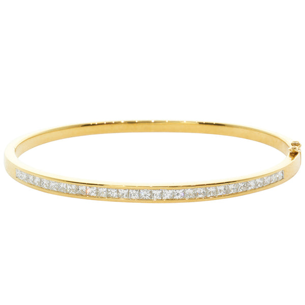 18ct Yellow Gold 1.92ct Diamond Bangle - Walker & Hall