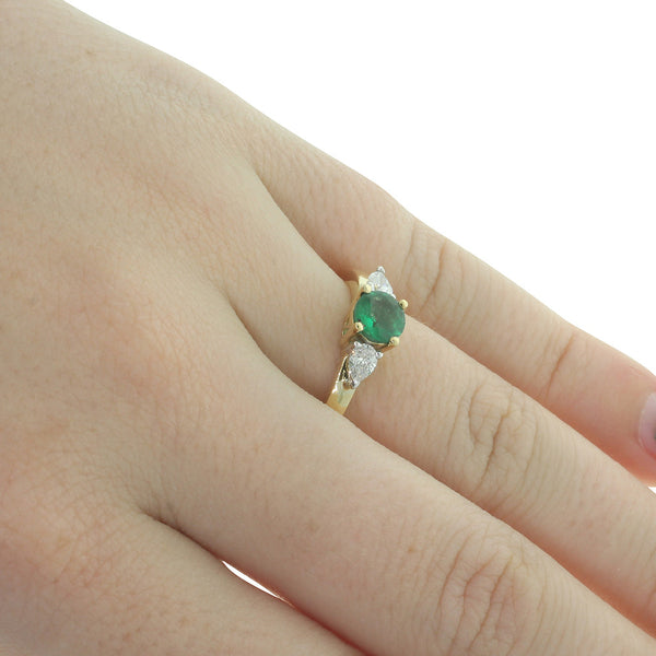 18ct Yellow Gold Emerald And Diamond Trilogy Ring - Walker & Hall