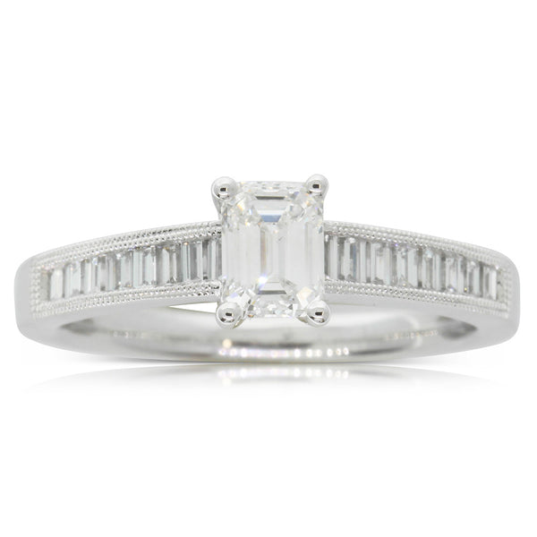 18ct White Gold .57ct Emerald Cut Diamond Ring - Walker & Hall