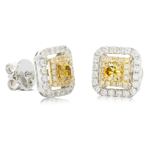 18ct White & Yellow Gold Yellow Diamond Earrings - Walker & Hall
