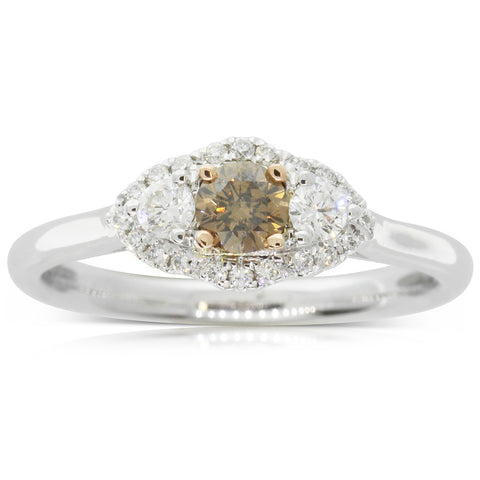18ct White Gold .23ct Yellow Diamond Posie Ring - Walker & Hall