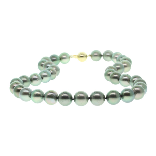 Black Pearl Necklace With 9ct Yellow Gold Clasp