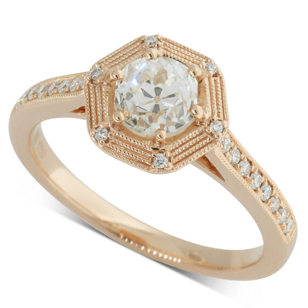 18ct Rose Gold 1.00ct Diamond Halo Ring