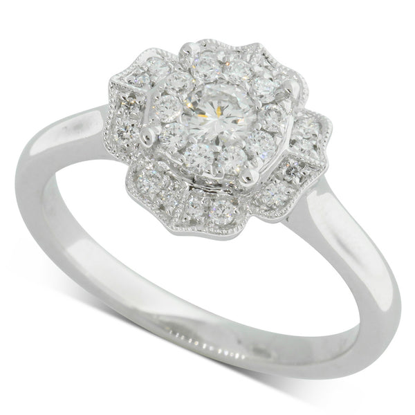 18ct White Gold .41ct Diamond Halo Ring - Walker & Hall