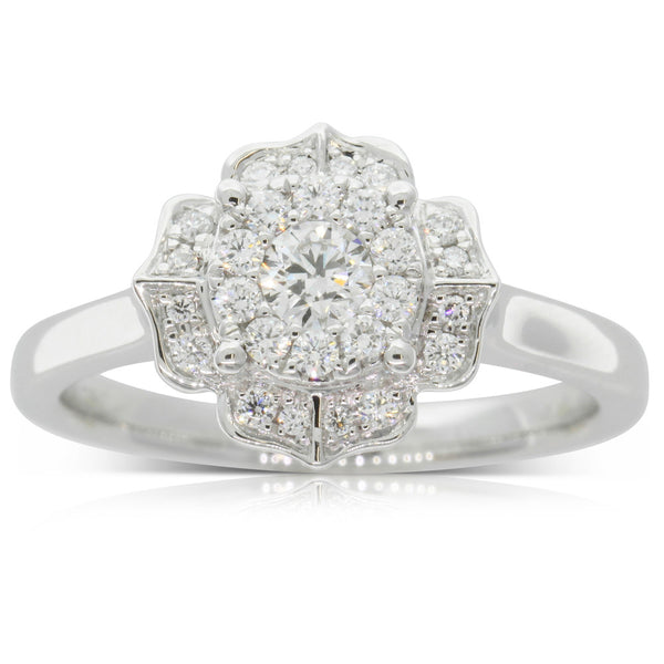 18ct White Gold Diamond Halo Ring - Walker & Hall