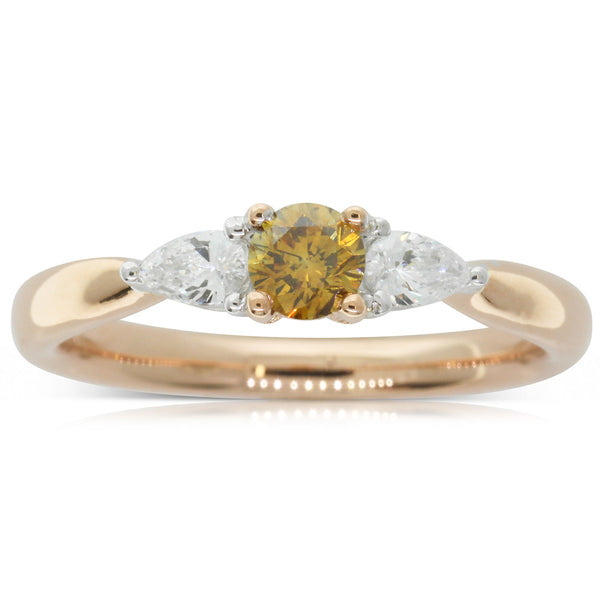 18ct Rose & White Gold Yellow Diamond Ring - Walker & Hall