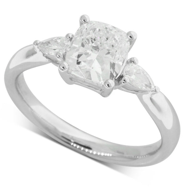 18ct White Gold 1.52ct Cushion Cut Diamond Ring - Walker & Hall
