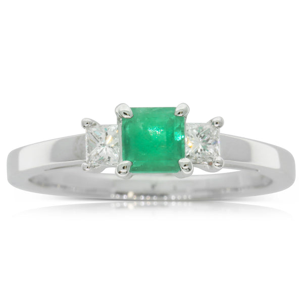 18ct White Gold Emerald & Diamond Ring - Walker & Hall