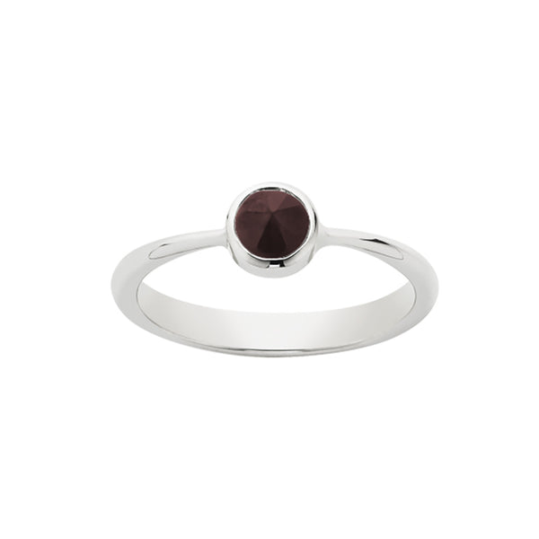 Meadowlark Crescent Solitaire Ring - Thai Garnet