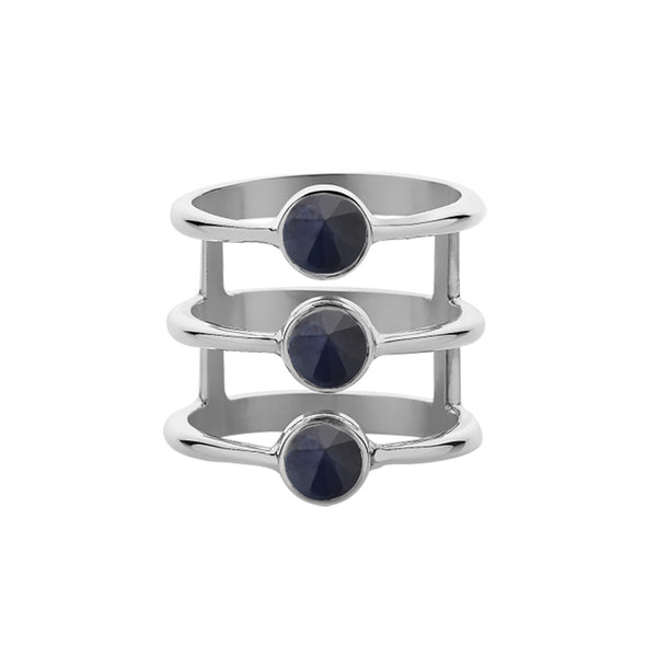 Meadowlark Crescent Triple Ring - Midnight Sapphire - Walker & Hall