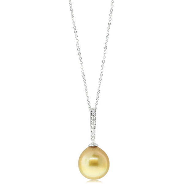 18ct White Gold Golden Pearl & Diamond Pendant