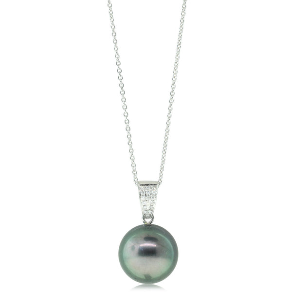 18ct White Gold Tahitian Black Pearl & Diamond Pendant - Walker & Hall
