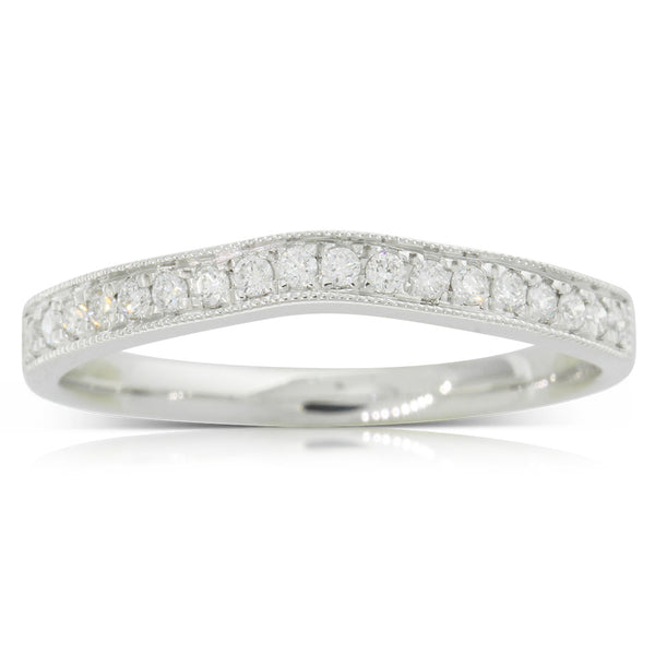 9ct White Gold .16ct Diamond Duchess Band