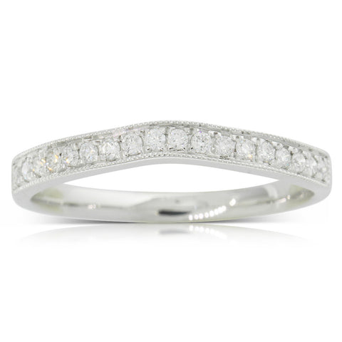 9ct White Gold .16ct Diamond Duchess Band - Walker & Hall