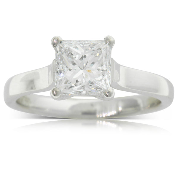 18ct White Gold Princess Cut Diamond Ring - Walker & Hall