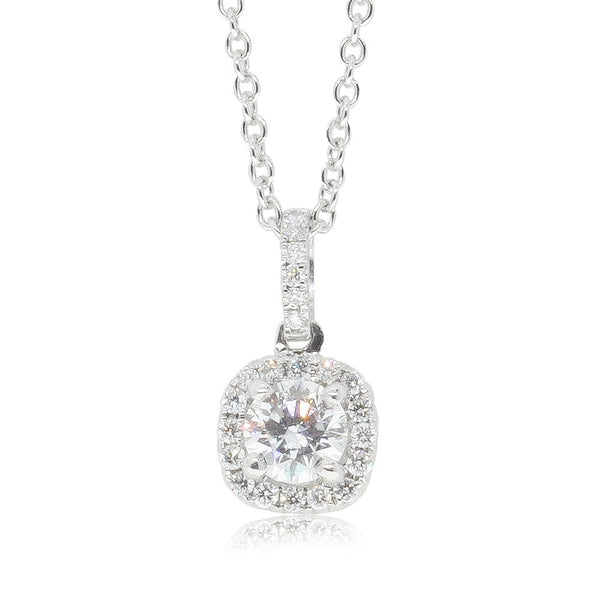 18ct White Gold Diamond Peony Pendant