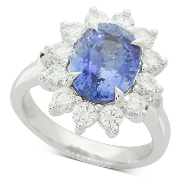 18ct White Gold Sapphire & Diamond Ring - Walker & Hall