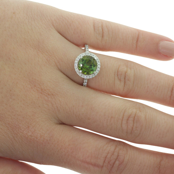 18ct White Gold Tourmaline & Diamond Halo Ring - Walker & Hall