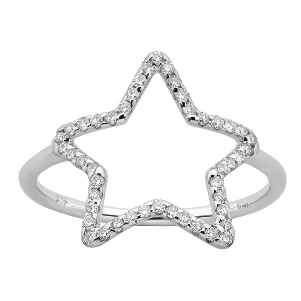 Karen Walker Diamond Star Ring - 9ct White Gold - Walker & Hall