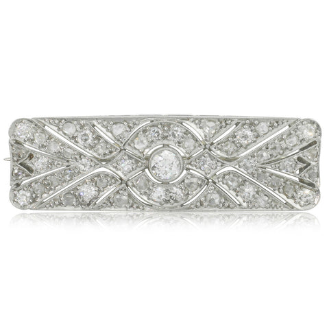 Vintage Platinum & 18ct White Gold Art Deco Diamond Brooch - Walker & Hall