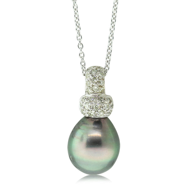 18ct White Gold Black Pearl & Diamond Pendant