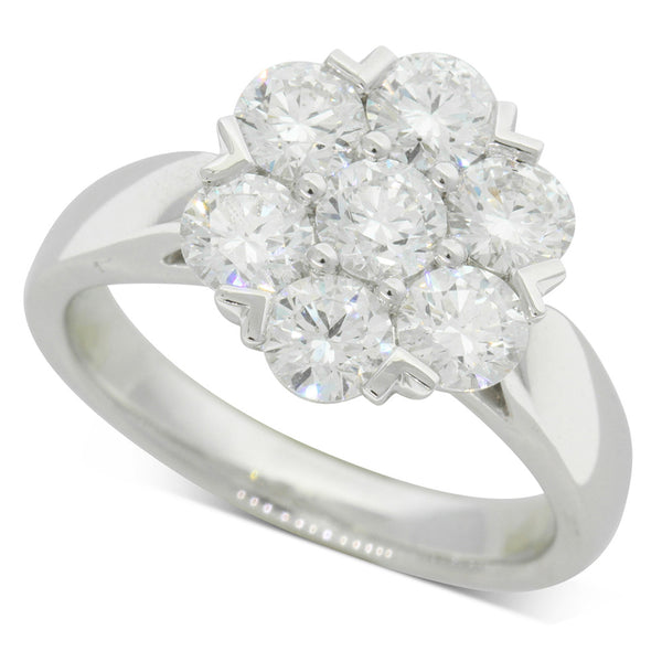 18ct White Gold 1.86ct Diamond Lotus Ring - Walker & Hall