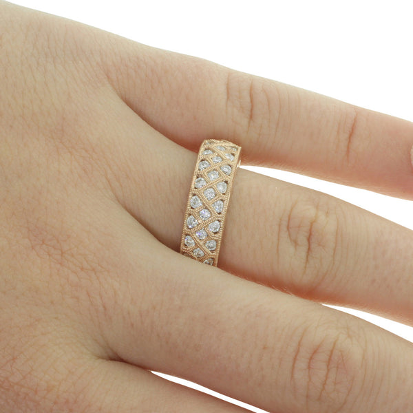 18ct Rose Gold Diamond Honour Ring - Walker & Hall
