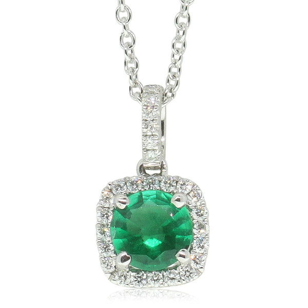 18ct White Gold Emerald & Diamond Pendant - Walker & Hall