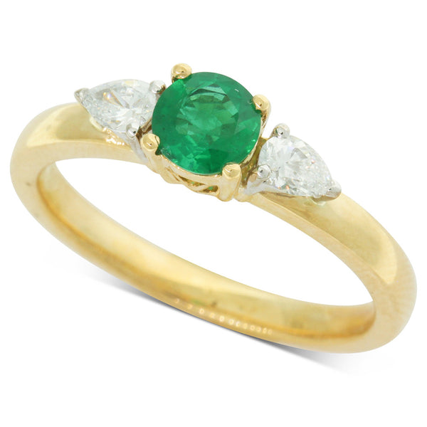 18ct Yellow Gold Emerald & Diamond Ring - Walker & Hall