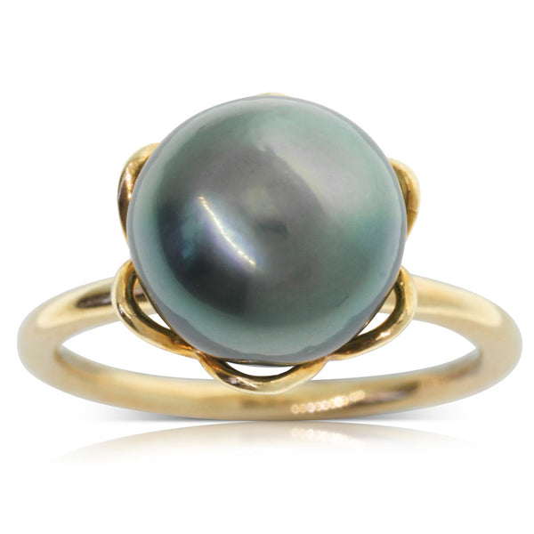 9ct Yellow Gold Tahitian Black Pearl Ring - Walker & Hall