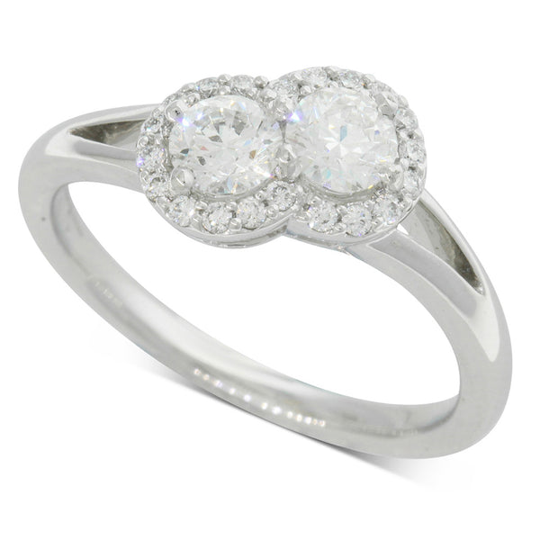 18ct White Gold Double Diamond Halo Ring - Walker & Hall