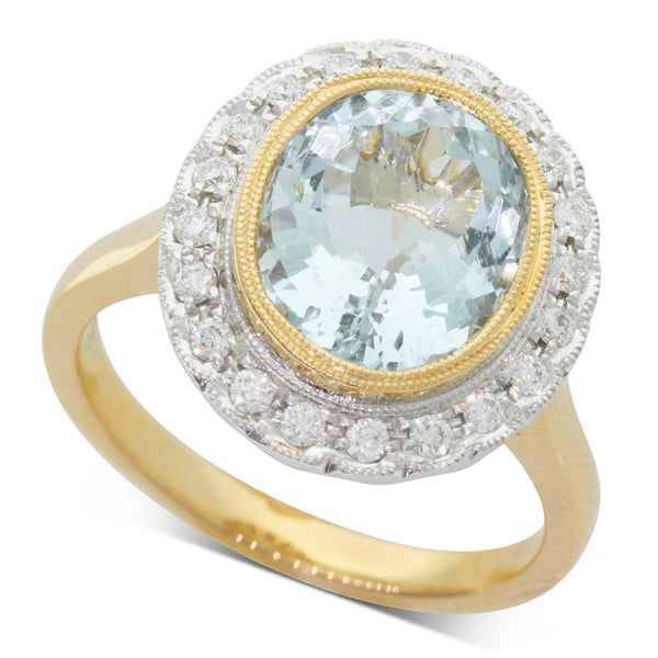 18ct Yellow & White Gold Aquamarine & Diamond Ring - Walker & Hall