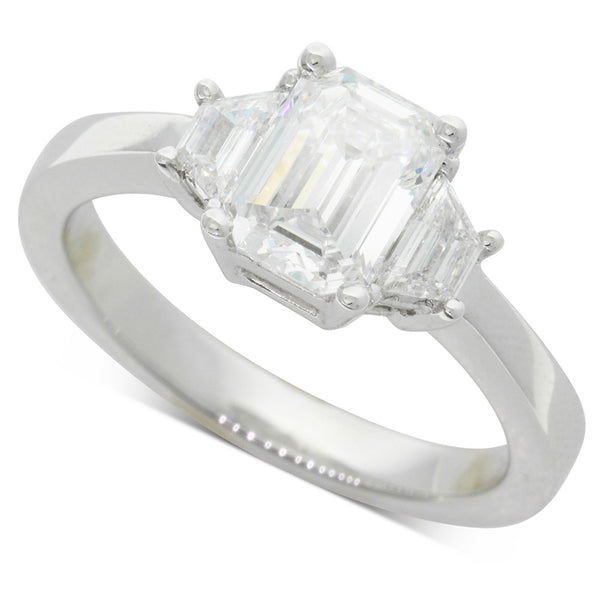 18ct White Gold 1.30ct Emerald Cut Diamond Ring - Walker & Hall